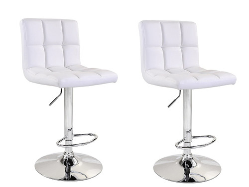 Remarkable White Bear High Back Leatherette Adjustable Hydraulic Bar Stool Set Of 2 White Machost Co Dining Chair Design Ideas Machostcouk