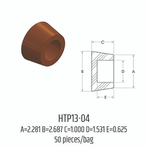 Silicone Hollow Tapered Plugs - HTP13-04 (A: 2.281; B: 2.687; C: 1.000; D: 1.531; E: 0.625)
