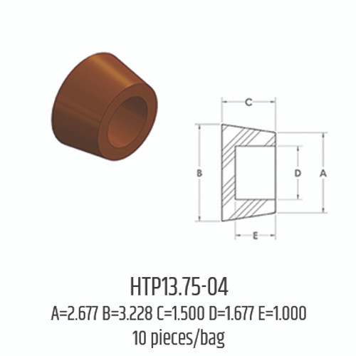Silicone Hollow Tapered Plugs - HTP13.75-04 (A: 2.677; B: 3.228; C: 1.500; D: 1.677; E: 1.000)