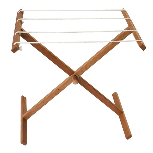 Clothing Drying Rack - Playset - Cherry Wood Laundry Line Stand