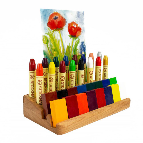 Wood Crayon Holder 16 Stick & Block with Postcard Holder
