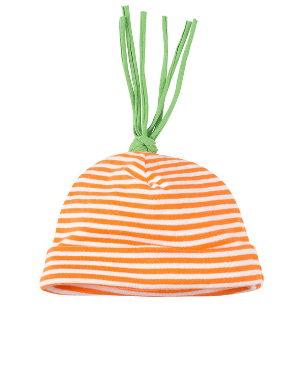 Carrot Top Stripe Beanie Hat (Size 3-6 Months)