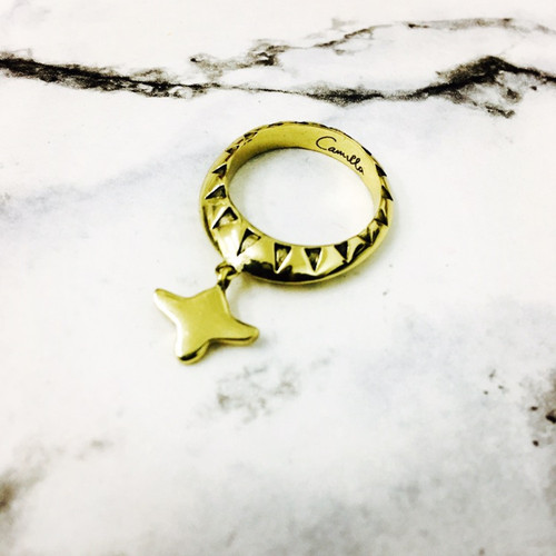 CAMILLA - Drop Motif Ring - Gold Brass