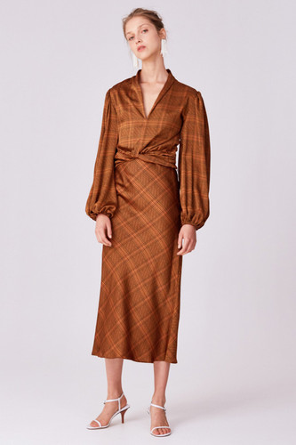 C/MEO COLLECTIVE - No Time Skirt - Copper Check