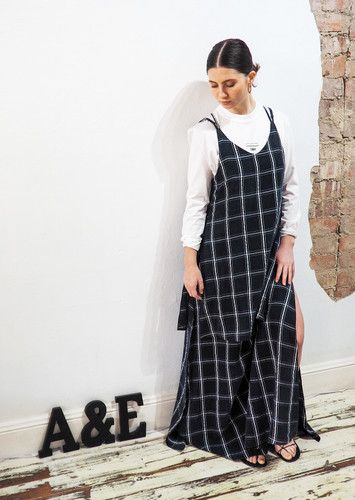 Alfie and Eifla - Long Layered Dress - Navy and White
