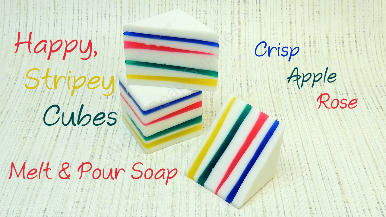 Happy Stripey Melt and Pour Soap Cubes