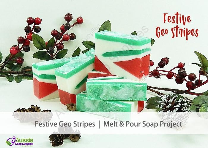 Geo Festive Stripes Melt & Pour Soap DIY Tutorial