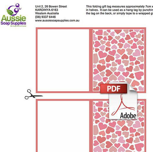 Swing Tag Folding Label PDF - Hearts