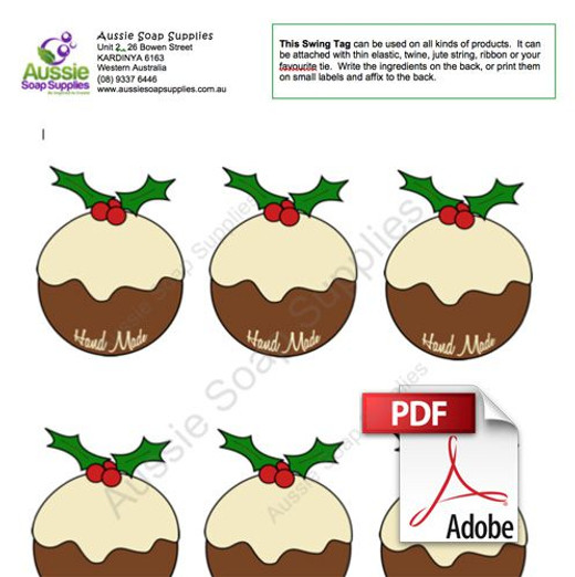 Swing Tag Label PDF - Christmas Plum Pudding