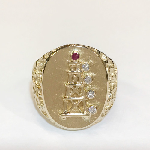 OIL DERRICK RING WITH DIAMOND AND RUBY LIGHTS  (*SPECIAL ORDER) Interested in this product? Contact us at: customerservice@thekaratpatch.com