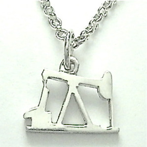 """STERLING SILVER OIL PUMP JACK PENDANT (sm) with 24"""" chain"""