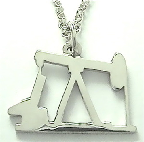 """STERLING SILVER OIL PUMP JACK PENDANT with 24"""" chain (LRG)"""
