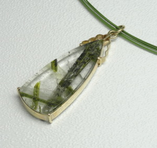 Tourmalinated Quartz in 14K Yellow Gold Pendant