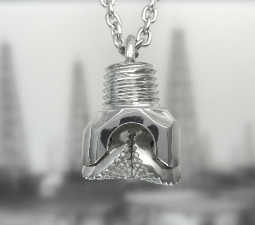 "OIL WELL DRILL BIT PENDANT (LRG) STERLING SILVER with 24"" CHAIN"
