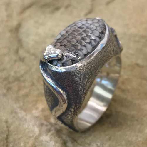 Snakeskin Agate & ©Continuum Sterling Silver ring