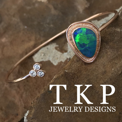OPAL AND DIAMOND BRACELET 14K ROSE