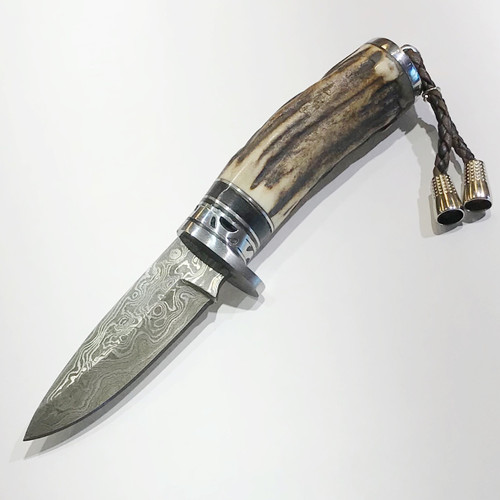"""LUXURY KNIFE QGKND6722 features: 6.2"""" long Fixed Blade, Damascus Steel Blade, Stag Horn Handle, Steel Pommel with Braided Leather Steel Tip Pull Tassel, Steel Guard with File-Work"""