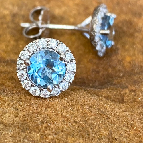 AQUAMARINE AND DIAMOND EARRINGS margarita style