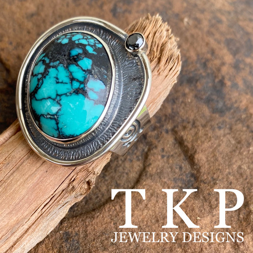 Turquoise and Black Diamond Ring