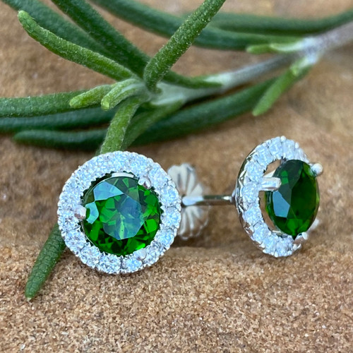 Chrome Diopside and Diamond Earrings