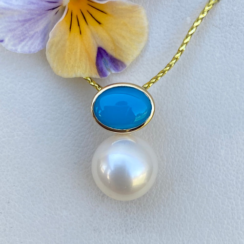 Blue Bird Turquoise and Pearl Pendant