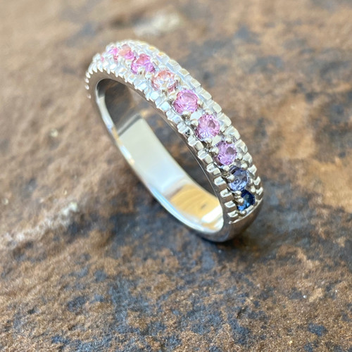 14K WHITE GOLD WITH  11 - 2.0MM STONES LISTED AS FOLLOWS: GENUINE RUBY, PASSION TOPAZ (COLOR ENHANCED), GENUINE PINK SAPPHIRE, GENUINE PINK TOURMALINE, MORGANITE PINK CUBIC ZIRCONIA, GENUINE TANZANITE, GENUINE IOLITE.   GRADING VARIES FROM STONE TO STONE