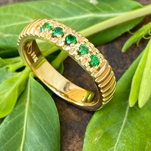 14K YELLOW GOLD WITH MATCHED, 2MM ROUND TSAVORITES,  0.44 CARAT TOTAL WEIGHT, AAA GRADE