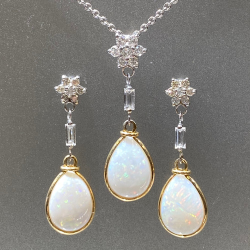 OPAL AND DIAMOND PENDANT EARRING SET