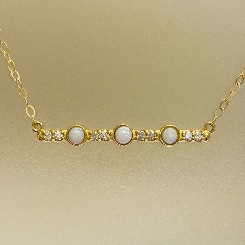 OPAL & DIAMOND BAR NECKLACE
