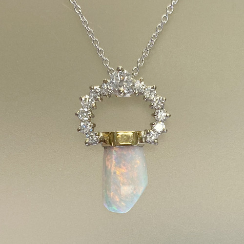 OPAL & DIAMOND PENDANT (freeform) front
