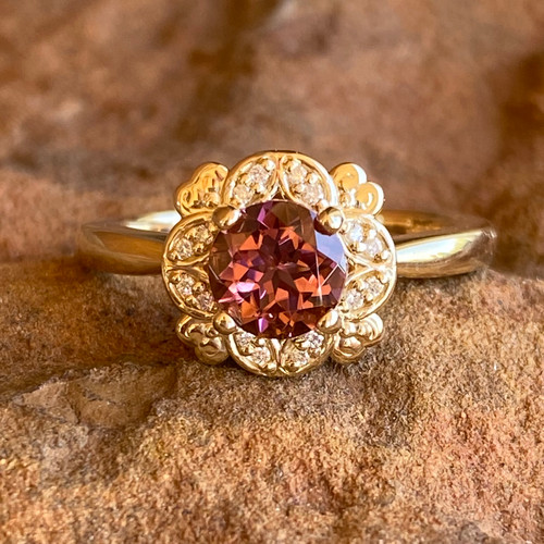 PINK TOURMALINE AND DIAMOND RING features 6.5mm round pink Tourmaline
