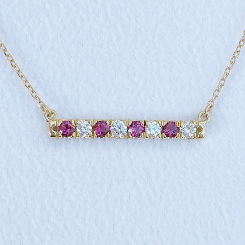PINK TOURMALINE AND DIAMOND BAR NECKLACE