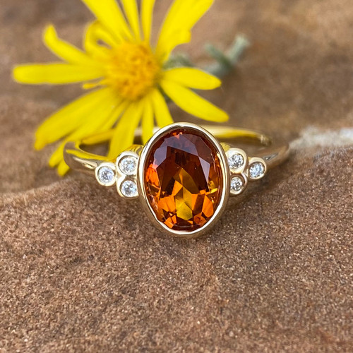 CITRINE AND DIAMOND RING (S71880)