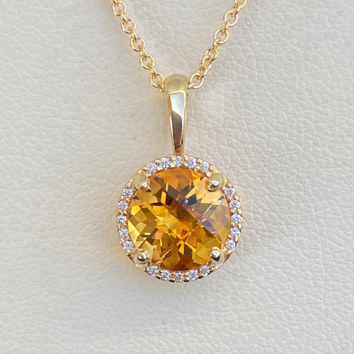 CITRINE AND DIAMOND PENDANT (S29837)