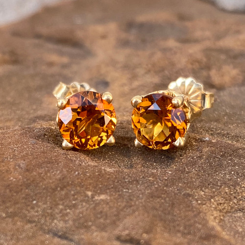 CITRINE EAR STUDS (Scroll)