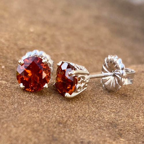 MADEIRA CITRINE EAR STUDS (Butterfly Scroll)