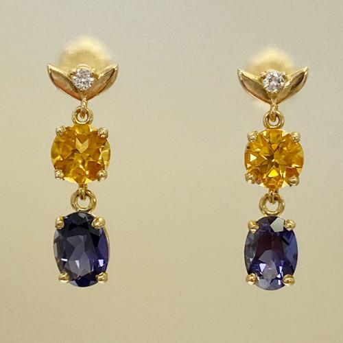 CITRINE, IOLITE AND DIAMOND EARRINGS