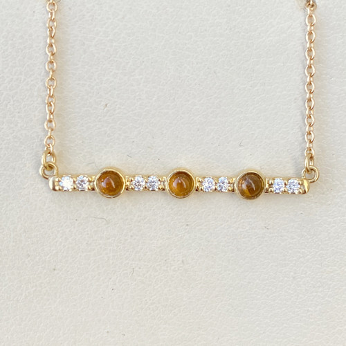 CITRINE AND DIAMOND BAR NECKLACE (S86817)