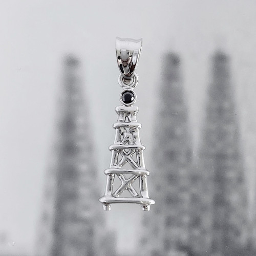 14K WHITE GOLD OIL DERRICK PENDANT WITH BLACK DIAMOND