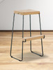 Alma Forged Backless Stool with Reclaimed Wood Seat