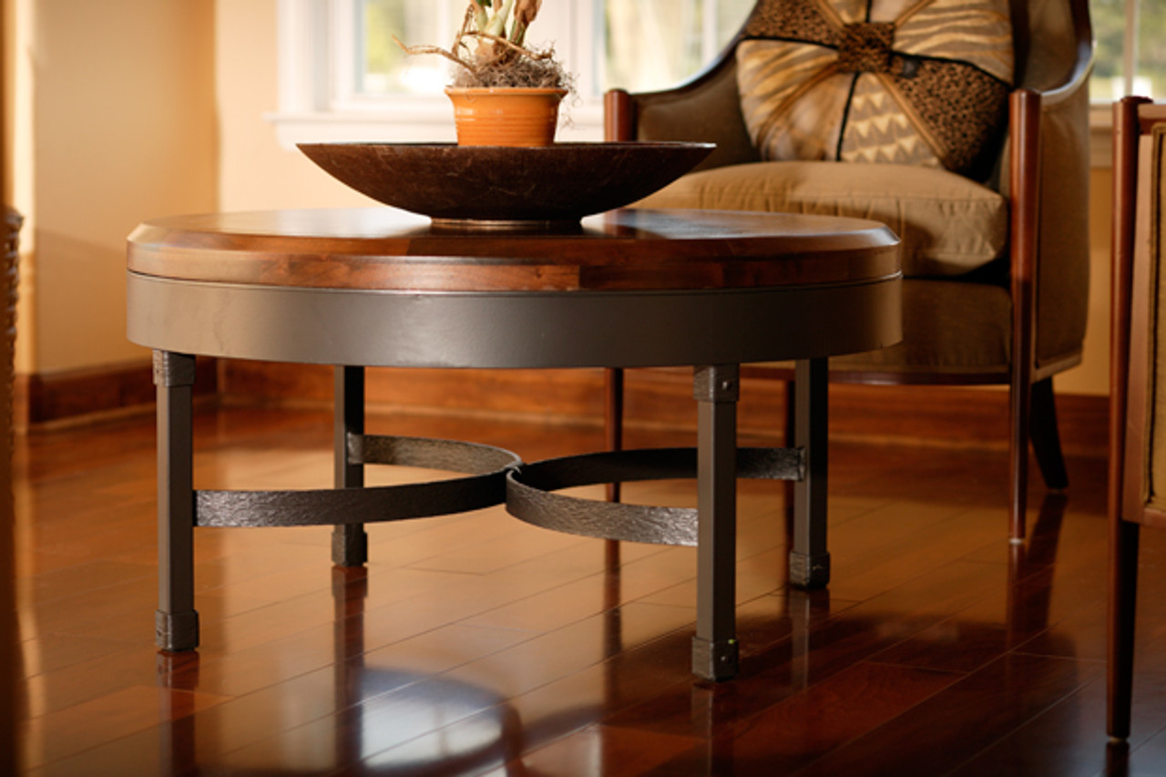 Picture of: 36 Inch Coffee Table Wrought Iron And Wood Coffee Table