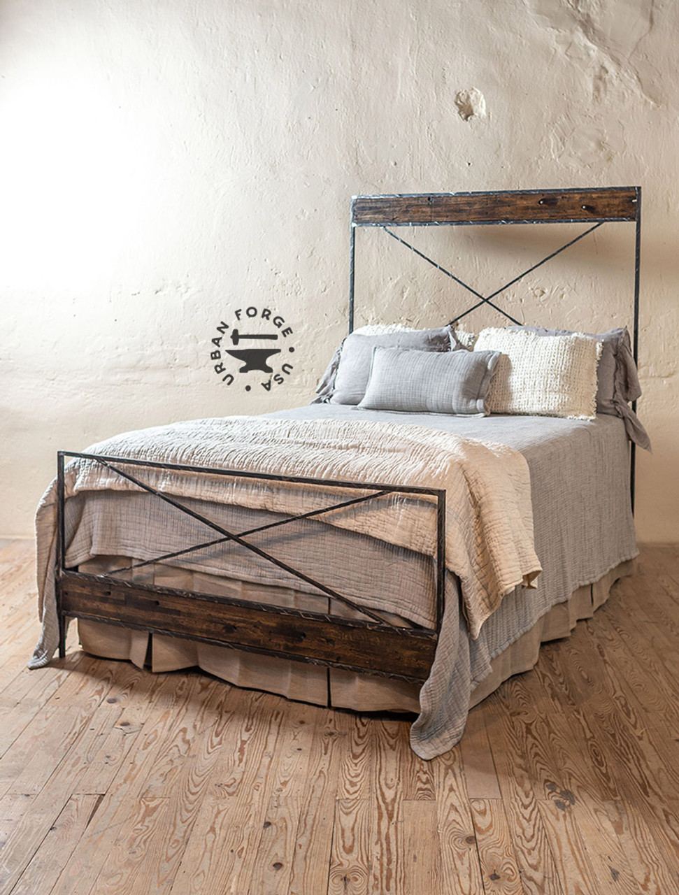 Iron Frame Bed Wrought Iron And Wood Bed Frame Urban Forge