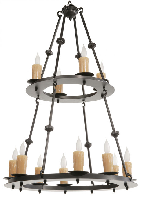 Waldron 12 Light Two-Tier Iron Chandelier