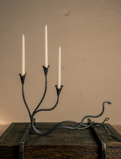 Ivy Wrought Iron Triple Candle Holder