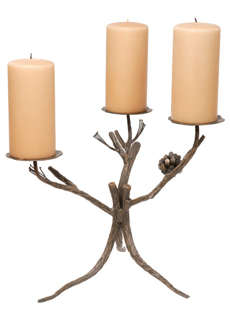 Evergreen Iron Candelabra Triple