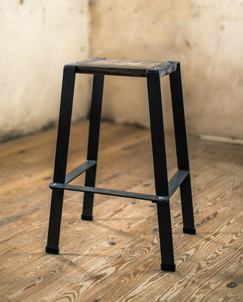 The 201 Forged Backless Stool with Reclaimed Wood Seat
