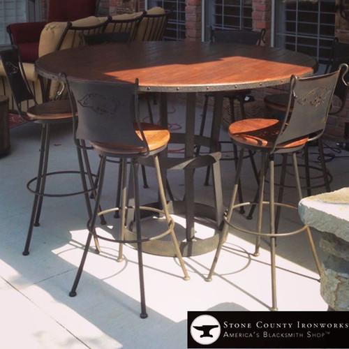 Custom Arkansas Razorbacks Outdoor Pub Table and Chairs