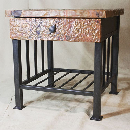 Custom Marshall Side Table with Copper Drawer and Top