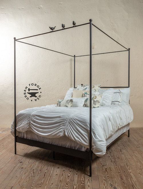 Bird on a Wire Wrought Iron Canopy Bed