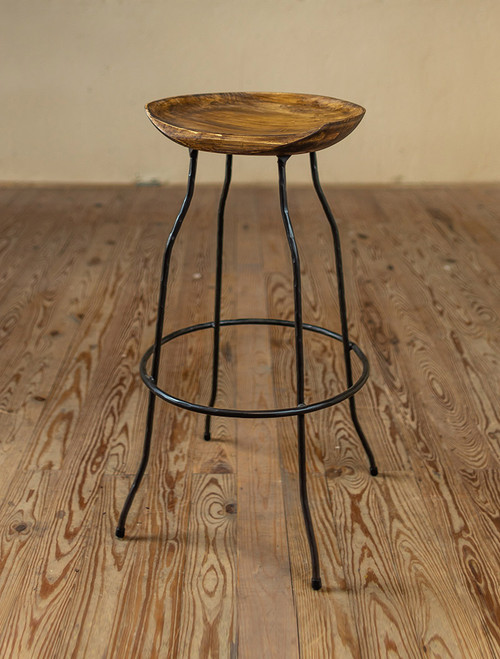 Fargo Wrought Iron Stool with Sculpted Wood Seat